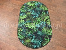 Green Monstera oval rug